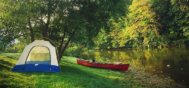 Eno River with tent and canoe